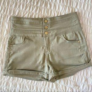 High Waist High Waisted Green Olive  Shorts 7